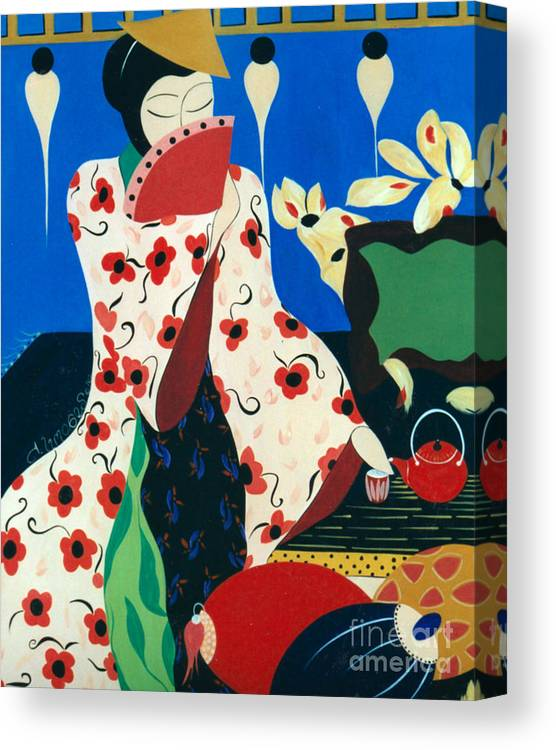 #japanese Canvas Print featuring the painting Japanese Tea by Jacquelinemari