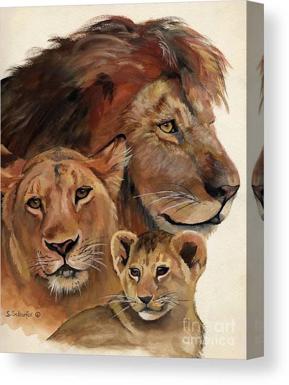 Lion Canvas Print featuring the painting Lion Family Portrait by Suzanne Schaefer