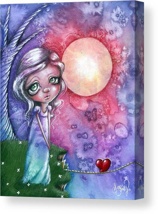 Whimsical Canvas Print featuring the drawing Love On A Wire by Sour Taffy