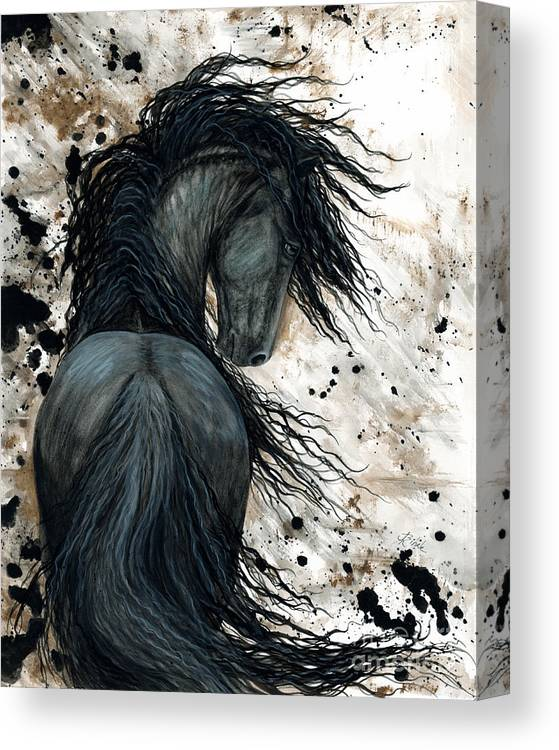 Friesian Canvas Print featuring the painting Majestic Friesian Horse 123 by AmyLyn Bihrle