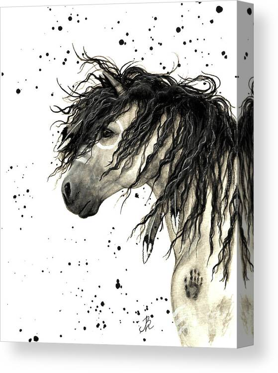 Mustang Horse Art Canvas Print featuring the painting Majestic Grey Spirit Horse #44 by AmyLyn Bihrle