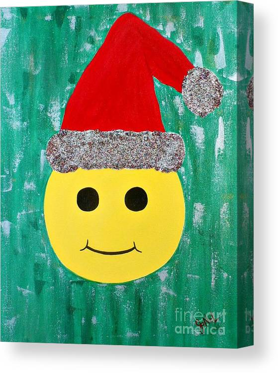 Christmas Canvas Print featuring the painting Merry Face by JoNeL Art