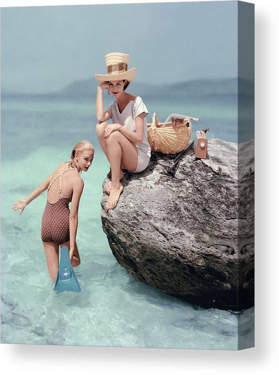 Fashion Canvas Print featuring the photograph Models At A Beach by Richard Rutledge