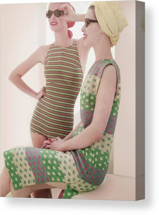 Studio Shot Canvas Print featuring the photograph Models Wearing Swimwear And Dress by Horst P. Horst