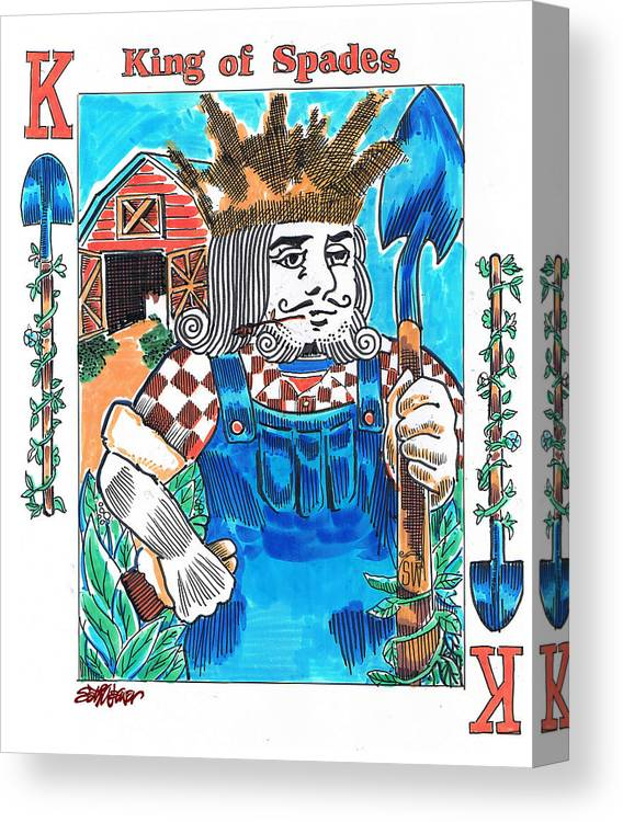 Modern King Of Spades Canvas Print featuring the drawing Modern King O' Spades by Seth Weaver