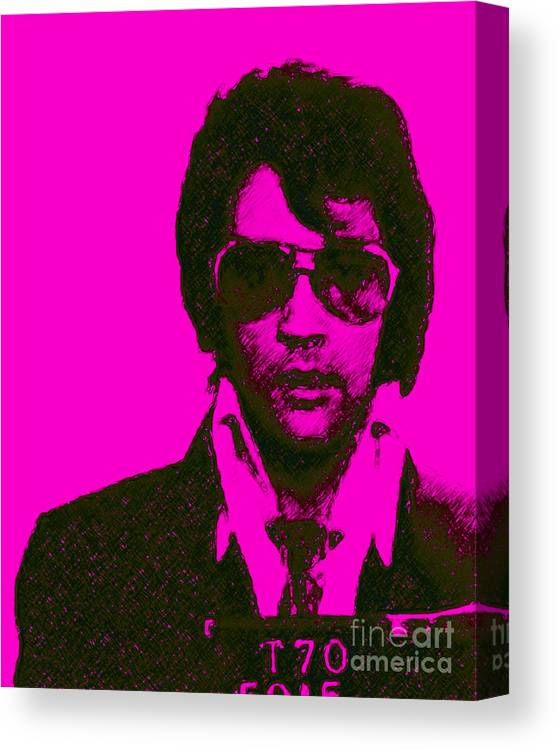 Wingsdomain Canvas Print featuring the photograph Mugshot Elvis Presley m80 by Wingsdomain Art and Photography