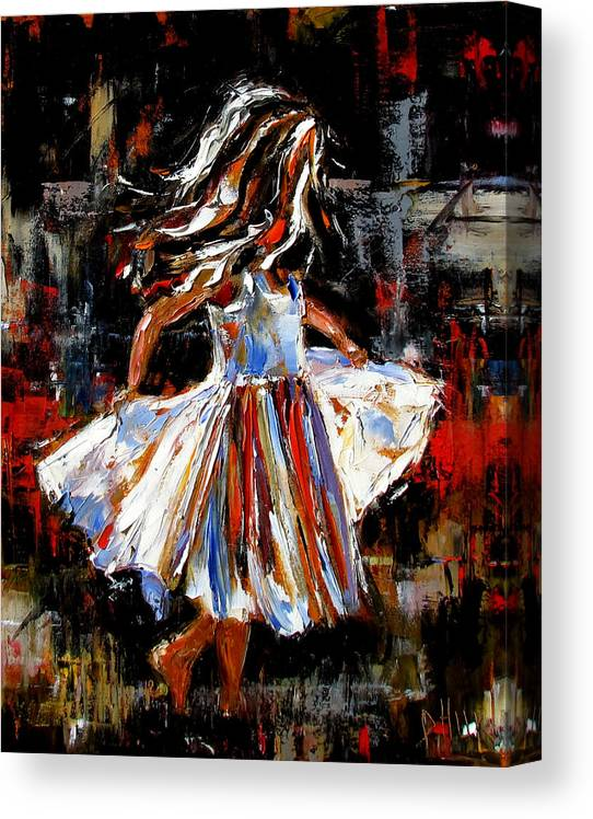 Child Canvas Print featuring the painting My Dress by Debra Hurd