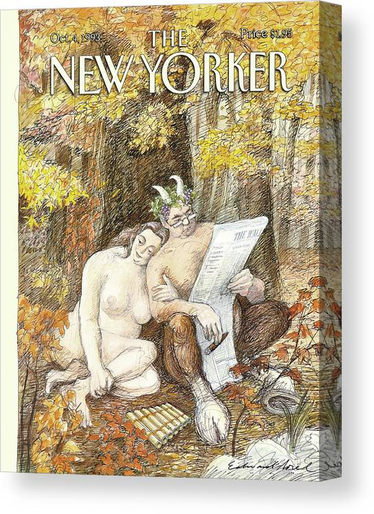 Remembrance Of Flings Past Artkey 50734 Eso Edward Sorel Canvas Print featuring the painting New Yorker October 4th, 1993 by Edward Sorel
