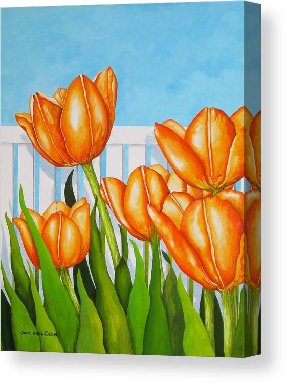 Tulips Canvas Print featuring the painting Orange Tulips In My Garden by Carol Sabo