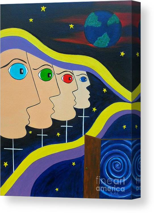 Surreal Canvas Print featuring the painting Origins Unknown by JoNeL Art