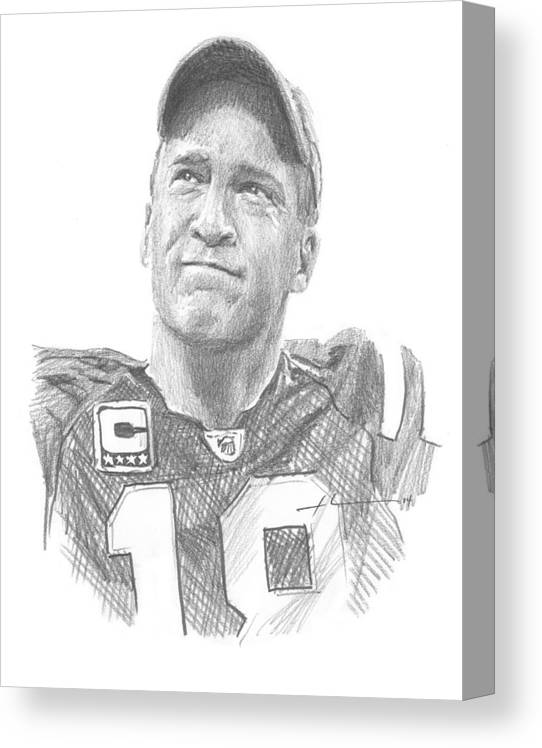<a Href=http://miketheuer.com Target =_blank>www.miketheuer.com</a> Peyton Manning Colts Farewell Pencil Portrait Canvas Print featuring the painting Peyton Manning Colts Farewell Pencil Portrait by Mike Theuer