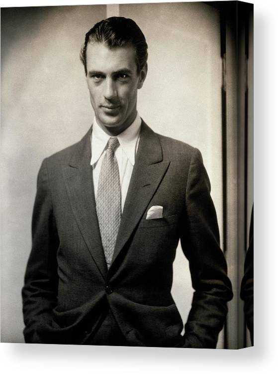 Film Canvas Print featuring the photograph Portrait Of Gary Cooper Wearing A Suit by Edward Steichen