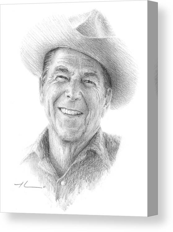 Www.miketheuer.com Canvas Print featuring the drawing Reagan Drawing Mike Theuer by Mike Theuer