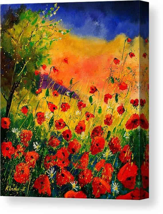 Poppies Canvas Print featuring the painting Red Poppies 45 by Pol Ledent