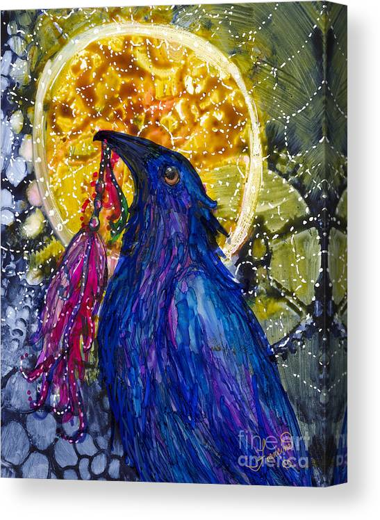 Raven Canvas Print featuring the painting Reveling Raven by Francine Dufour Jones