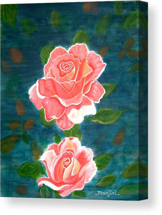 Rose Canvas Print featuring the painting Roses by Manjiri Kanvinde
