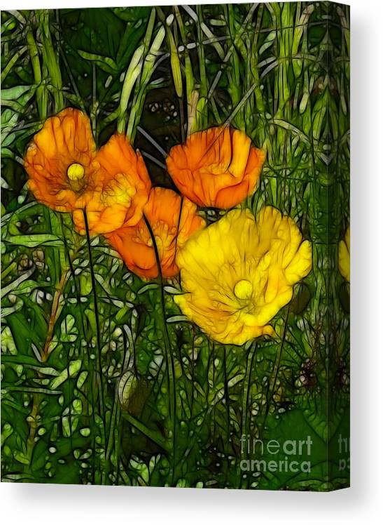 Floral Canvas Print featuring the painting See Fou's Poppies by Francine Dufour Jones