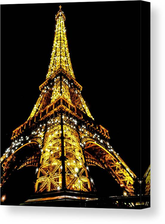 Eiffel Tower Canvas Print featuring the photograph Shining at night by S M Hasan
