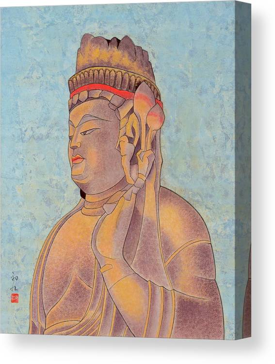 Japanese Canvas Print featuring the painting Stone Buddha / Purity by Hatsue Inoue