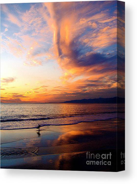 Surf Canvas Print featuring the photograph Sunset Surfing by Jerome Stumphauzer