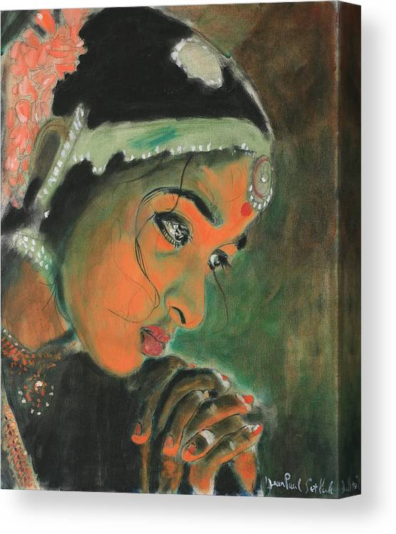 Woman Canvas Print featuring the painting Temple Dancer by Jean-Paul Setlak