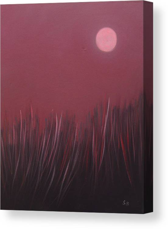 Landscape Canvas Print featuring the painting The dusk by Sergey Bezhinets