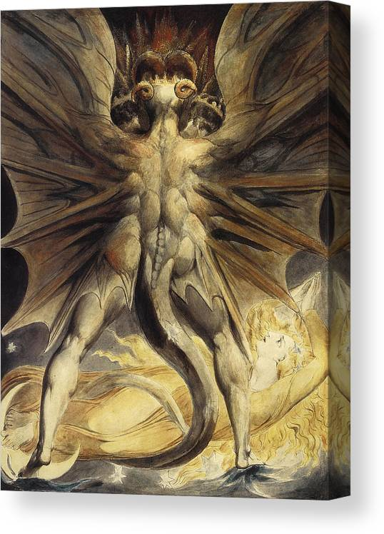 William Blake Great Red Dragon Woman Clothed With Sun Canvas Art Print Poster