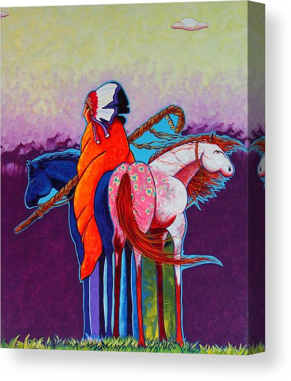Native American Canvas Print featuring the painting The Peacemakers Gift by Joe Triano