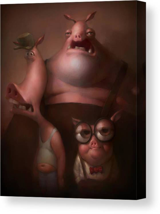 Fairytale Canvas Print featuring the painting Three Little Pigs by Adam Ford