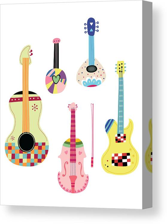 White Background Canvas Print featuring the digital art Various Kinds Of Stringed Instruments by Eastnine Inc.