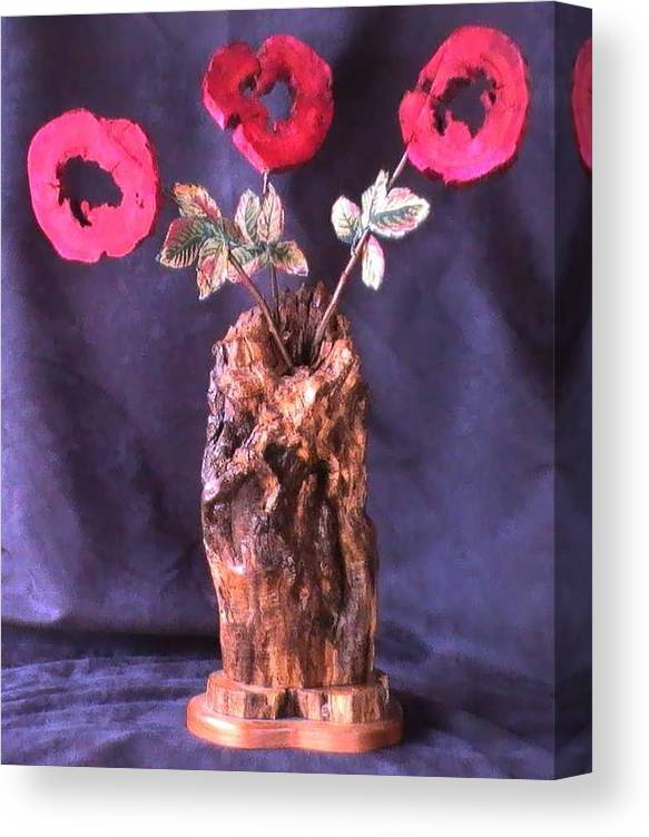 Wood Vase Canvas Print featuring the mixed media Vase of Flowers by Tanna Lee M Wells