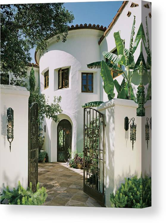 No People Canvas Print featuring the photograph View Of House With Open Gate by Mary E. Nichols