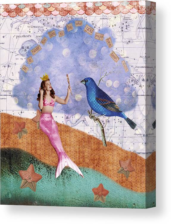 Vintage Collage Canvas Print featuring the digital art Vintage Mermaid Bird Collage by Cat Whipple