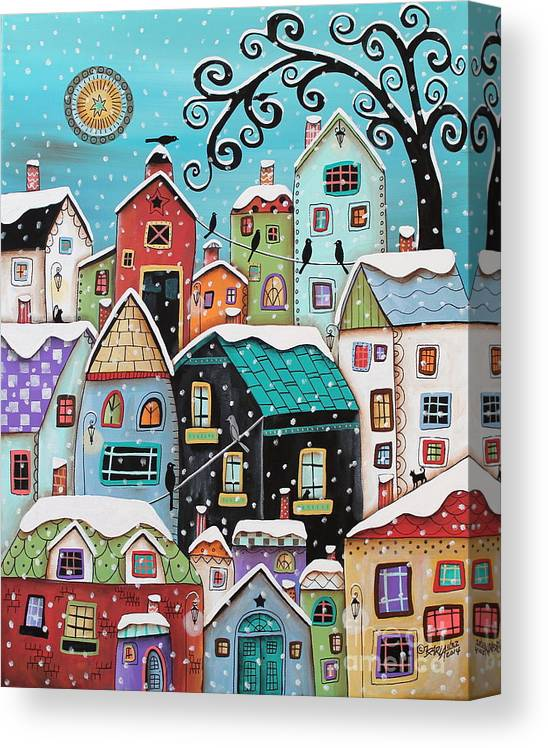 Winter Canvas Print featuring the painting Winter City by Karla Gerard