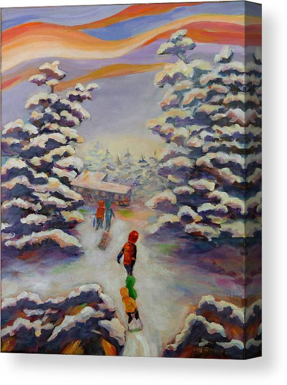 Winter In The Woods Canvas Print featuring the painting Winter Comfort by Naomi Gerrard