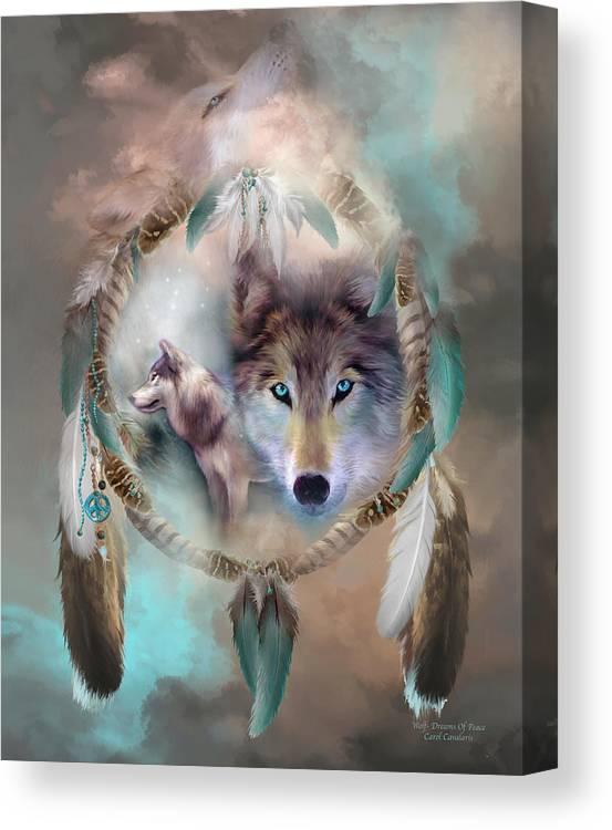 Carol Cavalaris Canvas Print featuring the mixed media Wolf - Dreams Of Peace by Carol Cavalaris