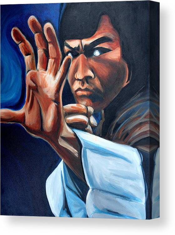 Canvas Print featuring the painting Bruce Lee by Kate Fortin