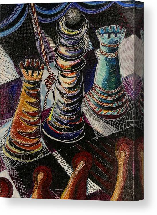 Chess Canvas Print featuring the painting 2 Rooks And A Queen by Kate Fortin