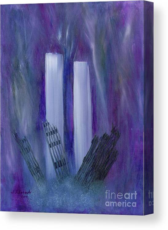 911 Canvas Print featuring the painting 9-11 Remembering by Judy Filarecki