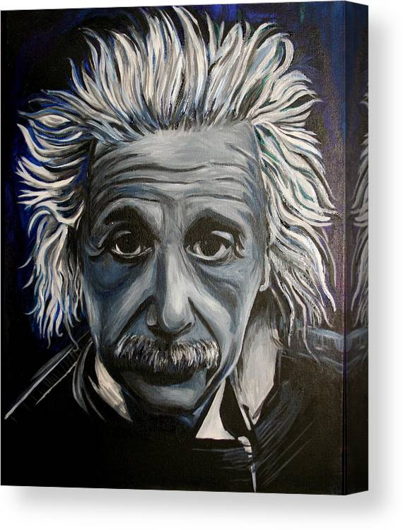 Einstein Canvas Print featuring the painting Einstein by Kate Fortin