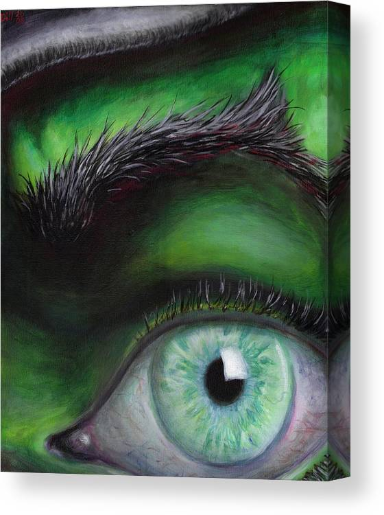 Green Eye Witch Wizard Oz Elphaba West Wicked Evil Eyebrow Canvas Print featuring the painting Eye of the Beholder by Rust Dill
