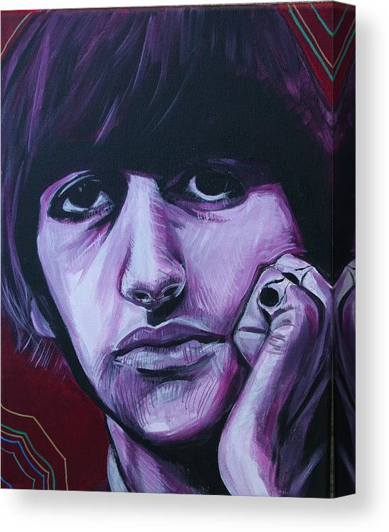 Beatles Canvas Print featuring the painting Ringo Star by Kate Fortin