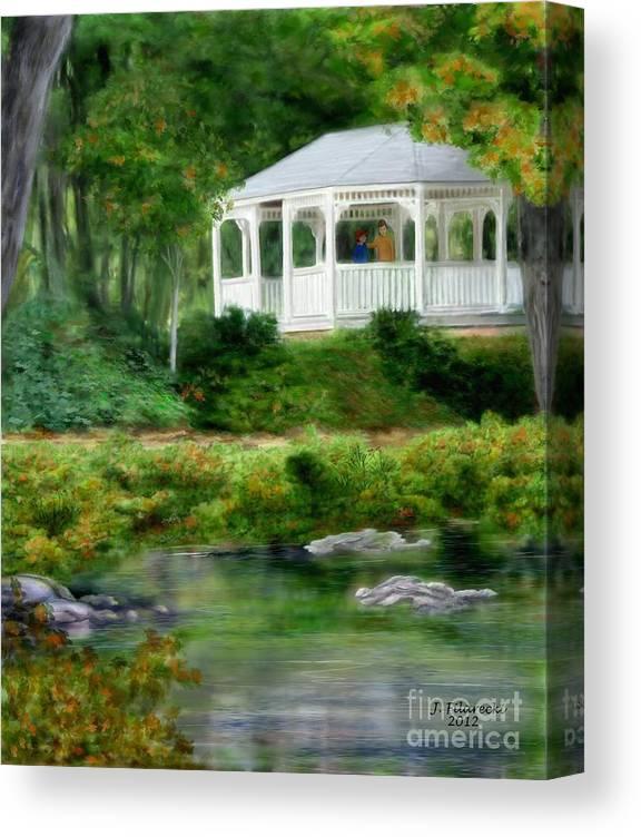 Riverside Canvas Print featuring the painting Riverside Gazebo by Judy Filarecki