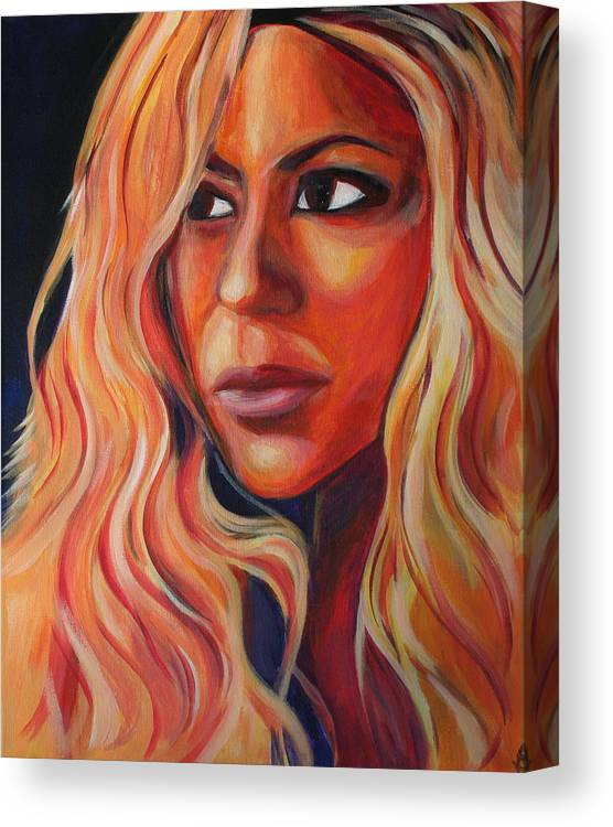 Canvas Print featuring the painting Shakira by Kate Fortin
