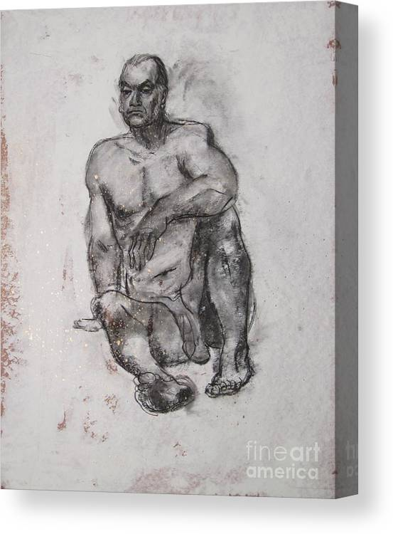 Nude Canvas Print featuring the drawing Solidity by Julianna Ziegler