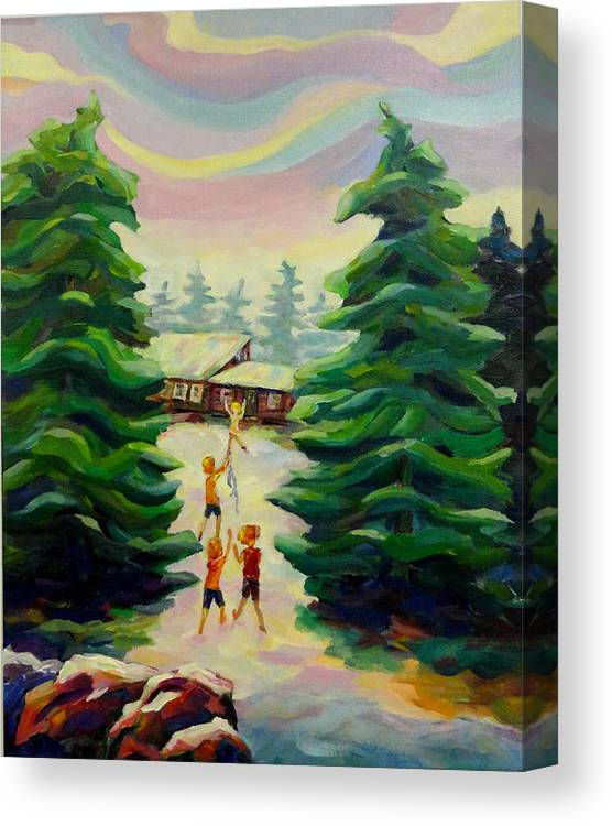 Summer Time Canvas Print featuring the painting Summer at the Cottage by Naomi Gerrard