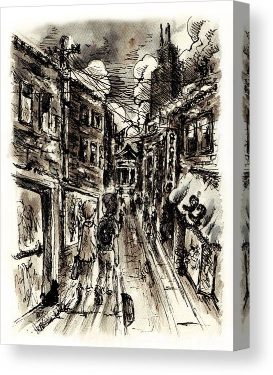 City Canvas Print featuring the painting Walkin In The City by William Russell Nowicki