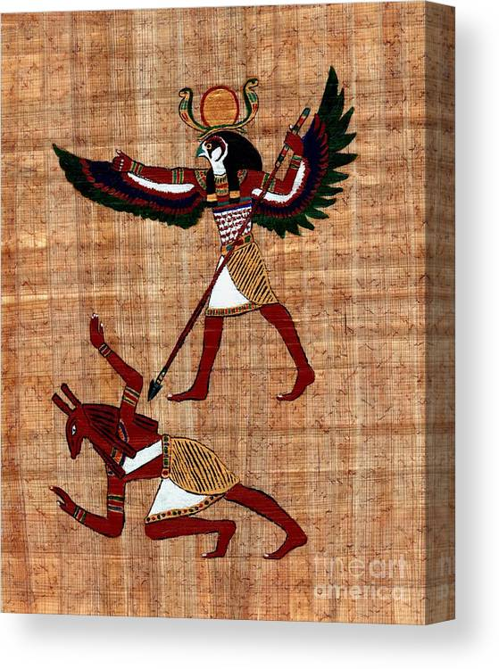 Winged Goddess Isis Egyptian Papyrus Stretched Canvas Wall Art Poster Print