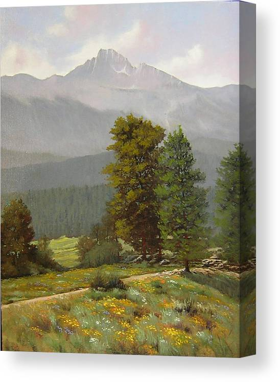 Landscape Canvas Print featuring the painting 060812-1418 As Carefree As The Flowers In The Fields by Kenneth Shanika