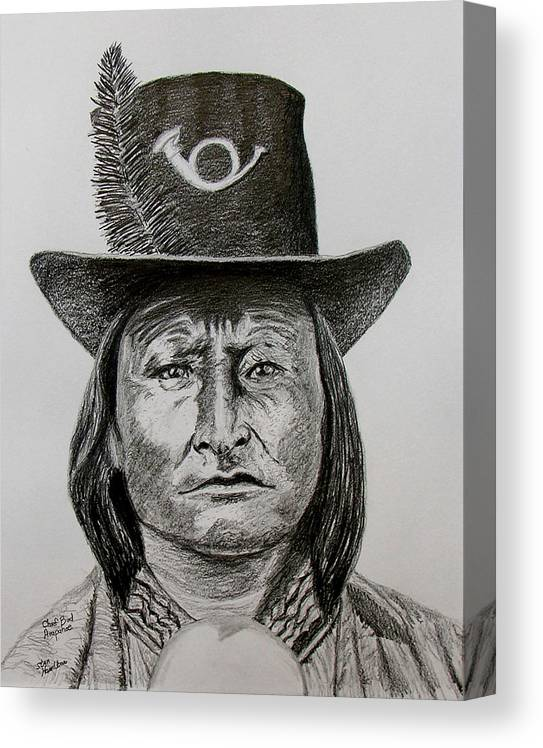 Portrait Canvas Print featuring the drawing Chief Bird Arapahoe by Stan Hamilton